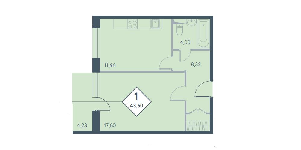 Однокомнатная квартира в новостройке ЖК «Прайм Тайм» в Москве