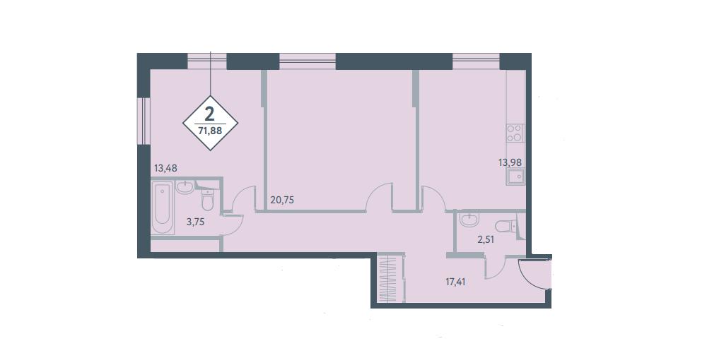 Двухкомнатная квартира в новостройке ЖК «Прайм Тайм» в Москве