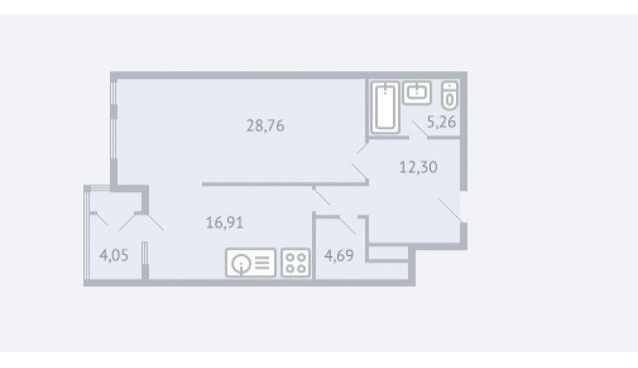 Однокомнатная квартира в новостройке Жилой комплекс «Квартал 38A» в Москве