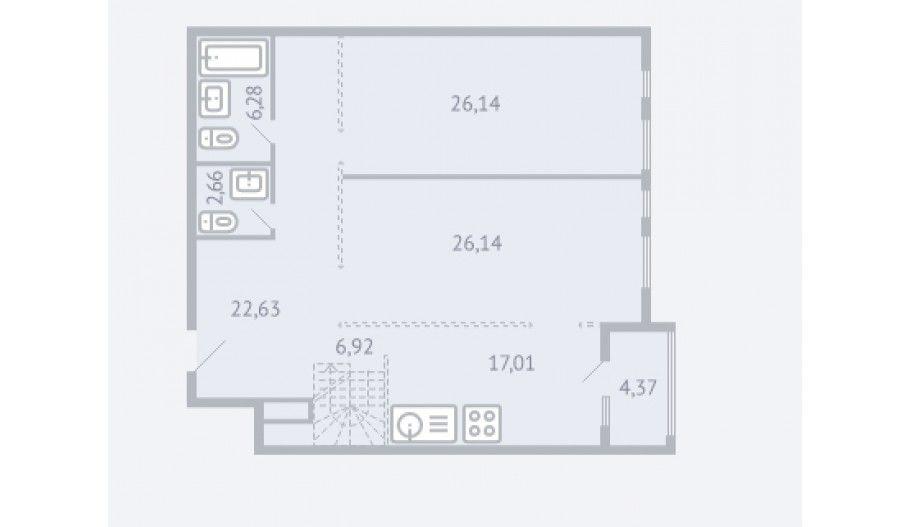 Двухкомнатная квартира в новостройке Жилой комплекс «Квартал 38A» в Москве