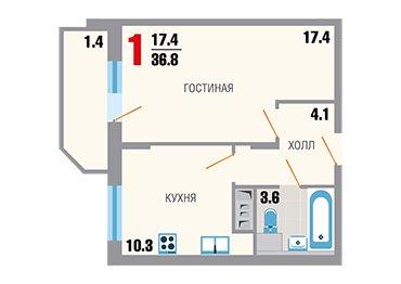 Однокомнатная квартира в новостройке ЖК «Зеленая Москва-2» в Новой Москве