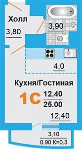 Однокомнатная квартира в подмосковном Домодедово в новостройке микрорайон «Город Счастья»