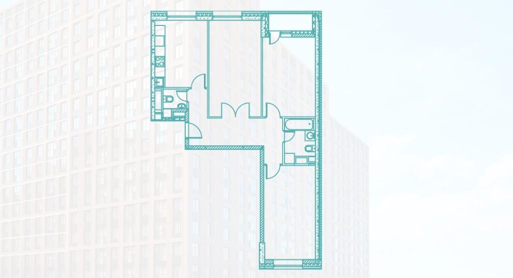 Трехкомнатная квартира 78.6 м2 в Москве, новостройка ЖК «Ясный» на Каширской