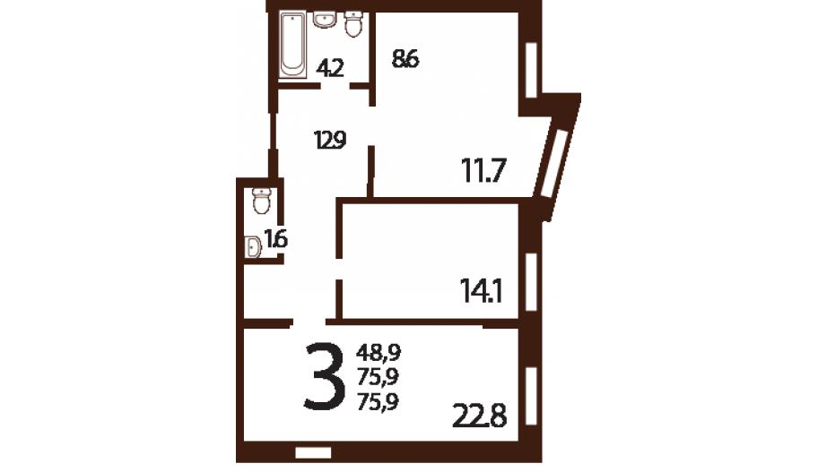 Трехкомнатные апартаменты в ЮЗАО Москвы в новостройке апарт-комплекс «Ландыши»