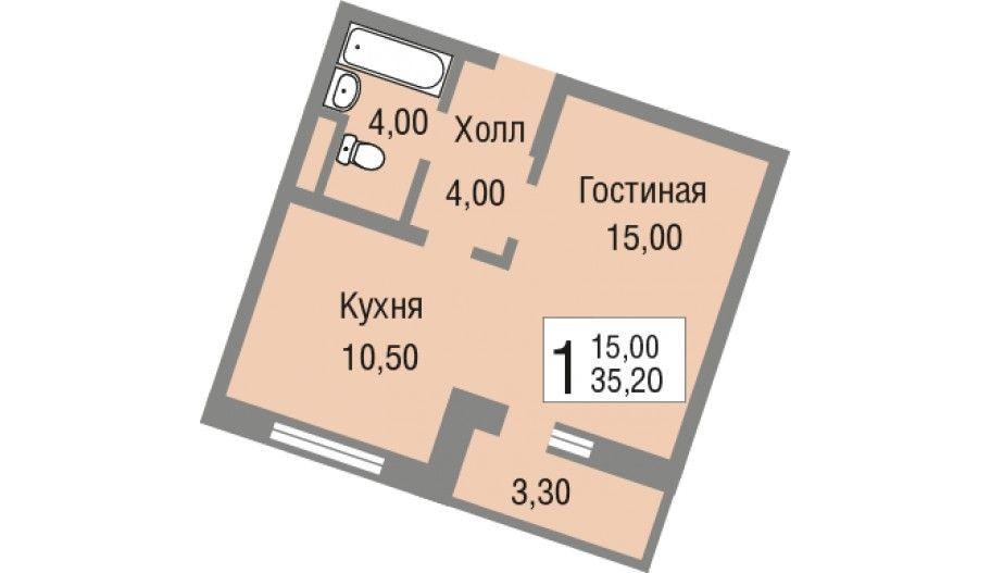 Однокомнатная квартира (студия) в новостройке ЖК «Новоград Павлино» в Железнодорожном в Подмосковье