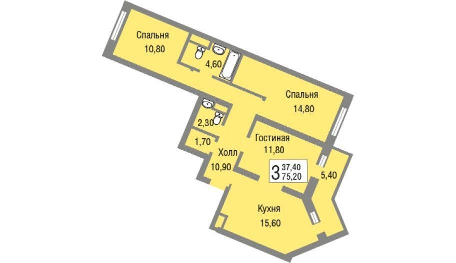 Трехкомнатная квартира в Железнодорожном в Подмосковье, новостройка ЖК «Новоград Павлино»
