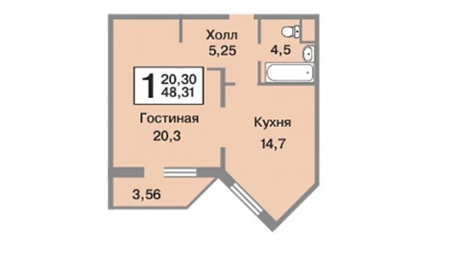 Однокомнатная квартира в Видное, Москва. Новостройка ЖК «Зелёные Аллеи»