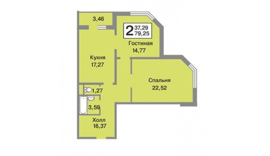 Двухкомнатная квартира в новостройке ЖК «Зелёные Аллеи» Видное, Москва