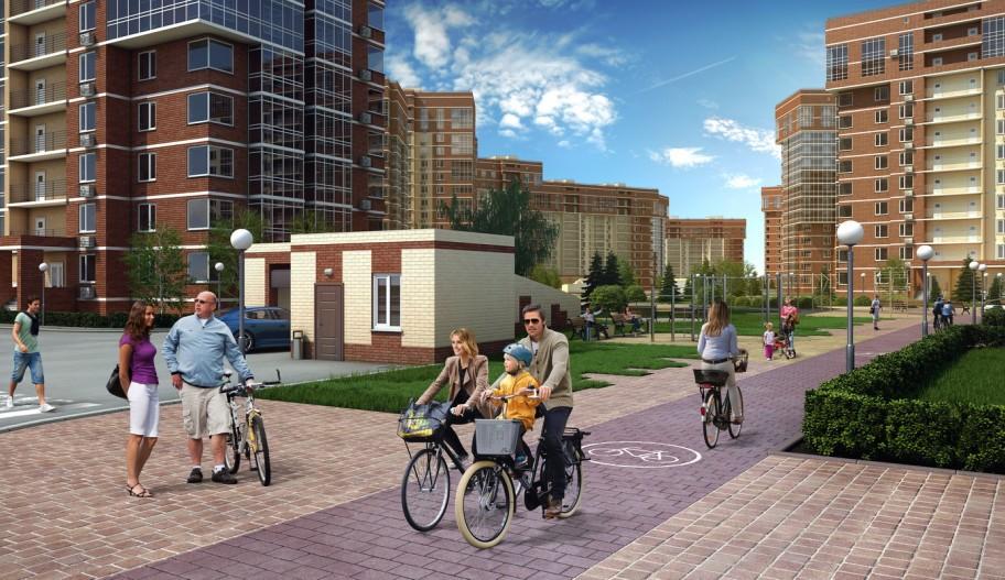 Новостройка ЖК «Татьянин Парк» в Новой Москве. Зона отдыха, велосипедные дорожки.