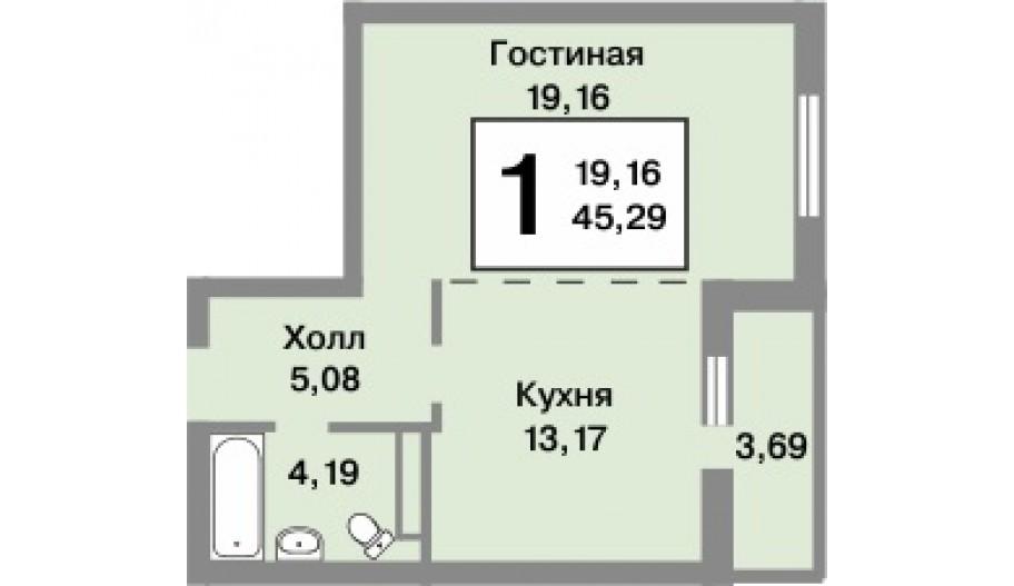 Однокомнатная квартира в новостройке ЖК «Татьянин Парк» в Новой Москве.