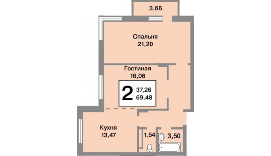 Двухкомнатная квартира Новой Москве в новостройке ЖК «Татьянин Парк».