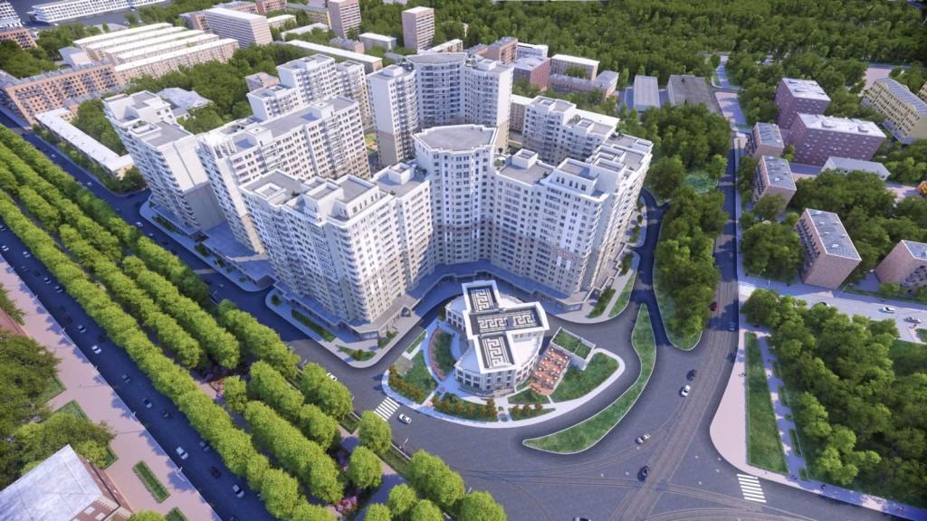 """Новостройка ЖК бизнес-класса """"Донской Олимп"""" в Москве. Вид сверху."""