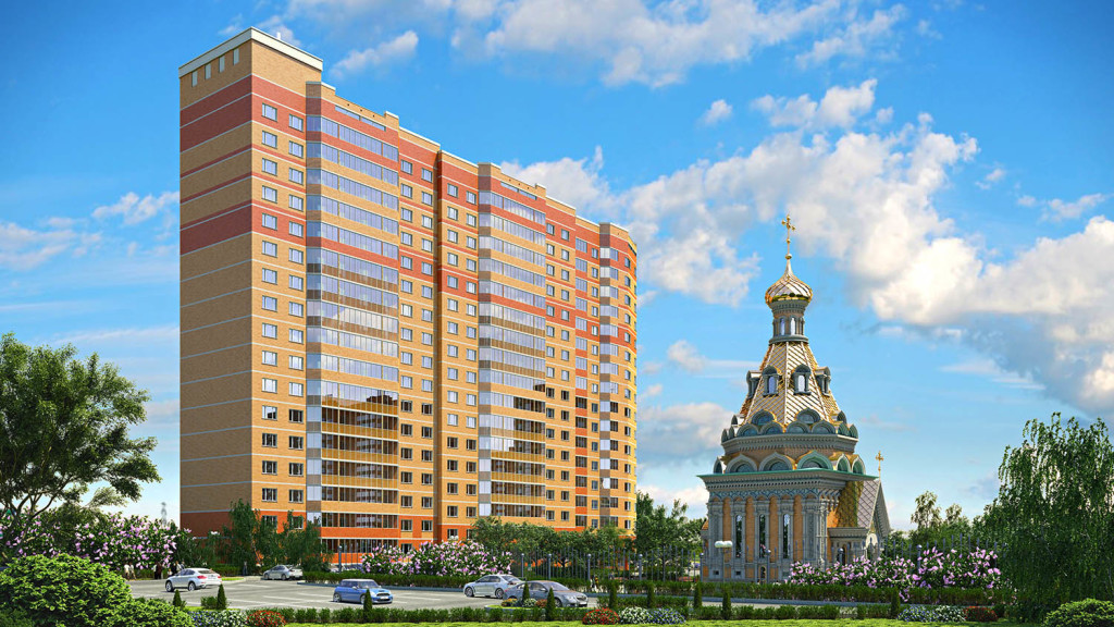 Новостройка в Видное, Москва, ЖК «Зелёные Аллеи». Вид с улицы.