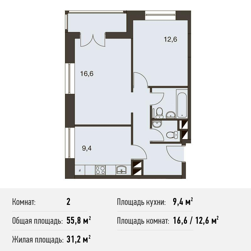 Двухкомнатные апартаменты в ЮАО Москвы от застройщика. Новостройка Апарт-Комплекс «ТехноПарк»