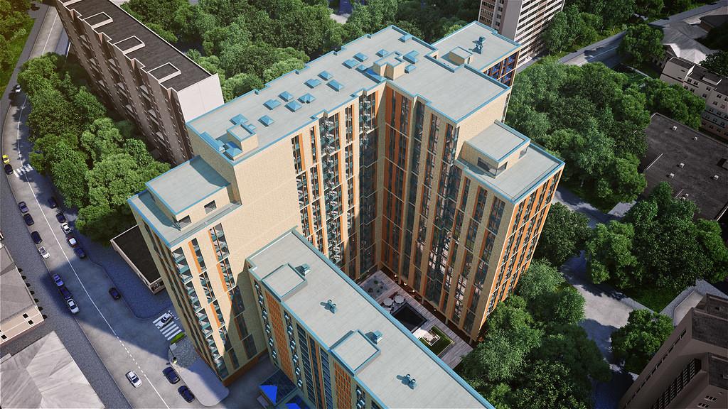 Апартаменты в новостройке Москвы апарт-комплекс «Волга». Вид сверху.