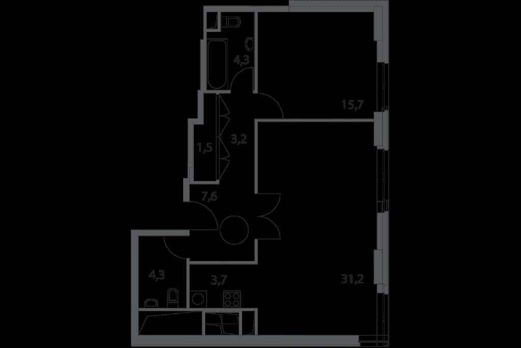 Двухкомнатные апартаменты в новостройке апарт-комплекс «Волга» в Москве