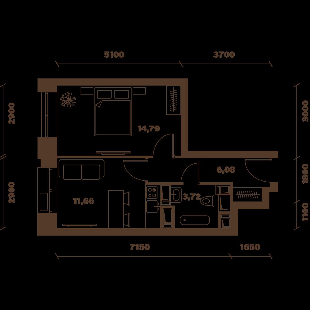 Однокомнатная квартира в новостройке Микрорайон «Домашний» в Марьино в Москве