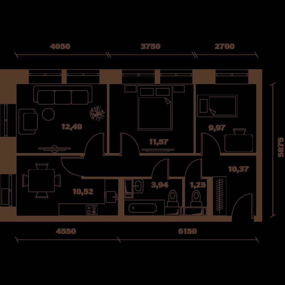Трехкомнатная квартира в Москве в новостройке Микрорайон «Домашний» в Марьино