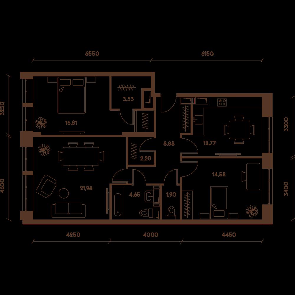 Трехкомнатная квартира в новостройке Микрорайон «Домашний» в Марьино в Москве