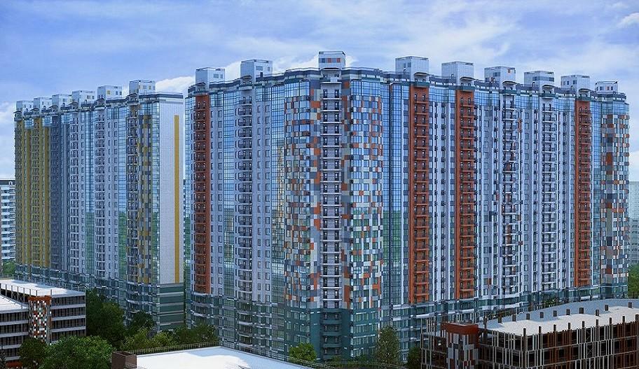 Новостройка Жилой Комплекс «LIFE-Митинская ECOPARK» в Митино, Москва. Вид с улицы.
