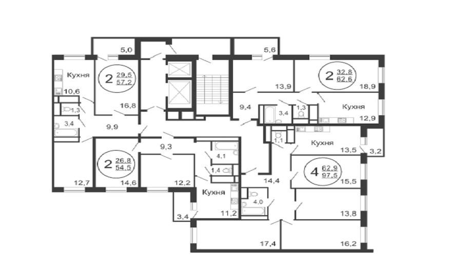 Поэтажные планы квартир в новостройке Микрорайон «Новое Медведково» в Мытищах.
