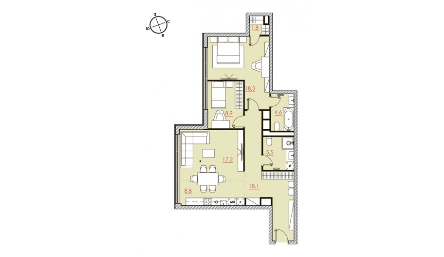 Трехкомнатные апартаменты в новостройке «Большевик» в САО Москвы