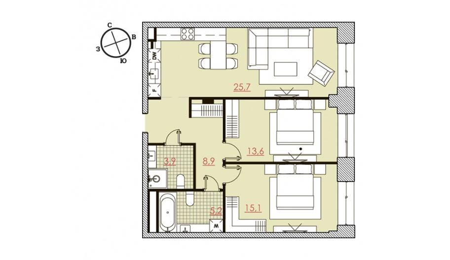 Двухкомнатные апартаменты в новостройке «Большевик» в САО Москвы