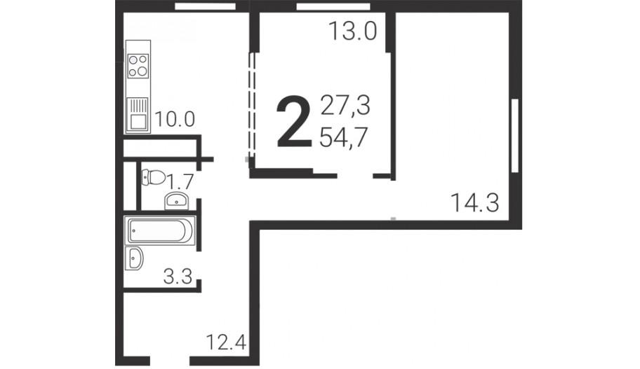Двухкомнатная квартира в Москве в новостройке Сити-комплекс «Барбарис»