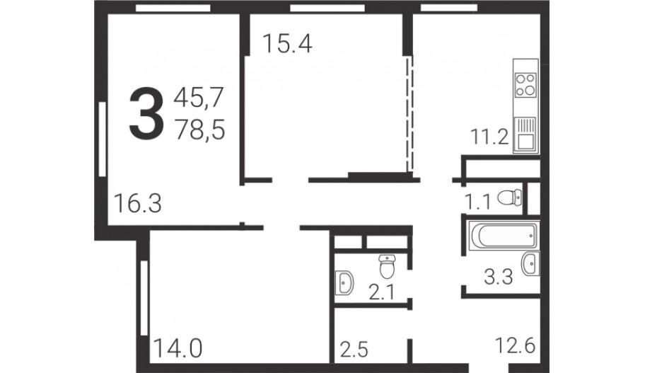 Трехкомнатная квартира в новостройке Сити-комплекс «Барбарис» в Москве