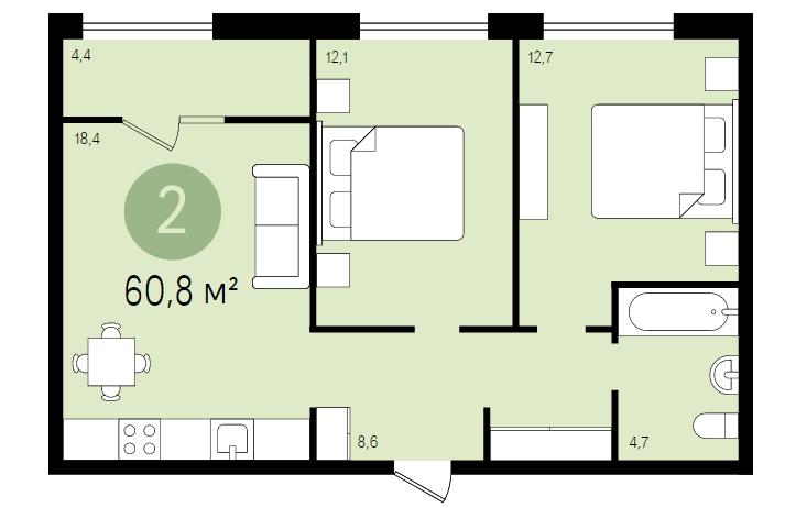 Двухкомнатная квартира в Москве, Видное. Новостройка ЖК «Первый квартал»