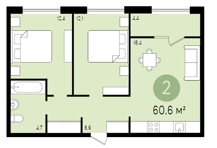 Двухкомнатная квартира в новостройке г. Видное ЖК «Первый квартал», Подмосковье.