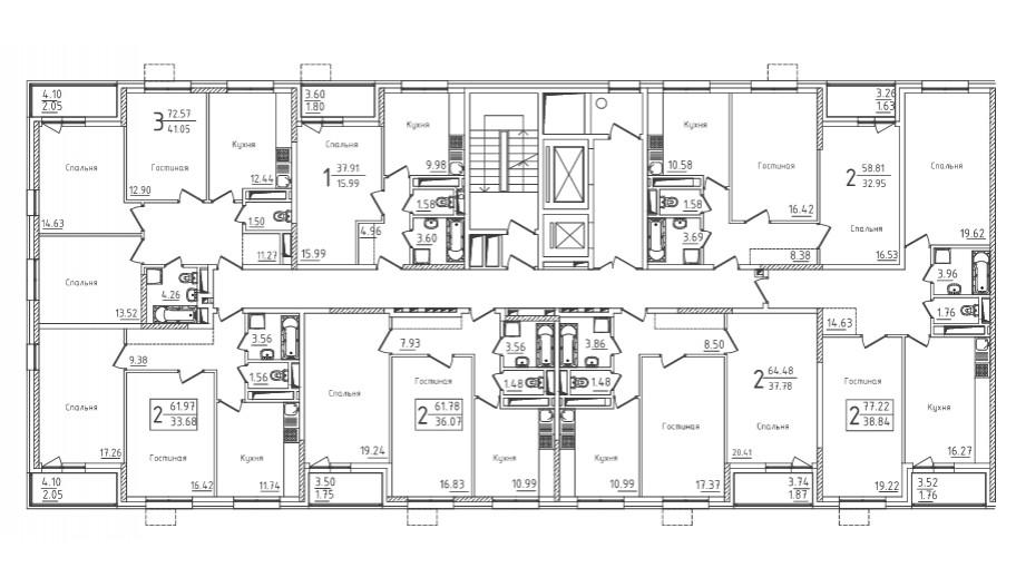 Типовой 3-19 этаж секция 1 в новостройке ЮВАО Москвы ЖК «Михайлова 31»