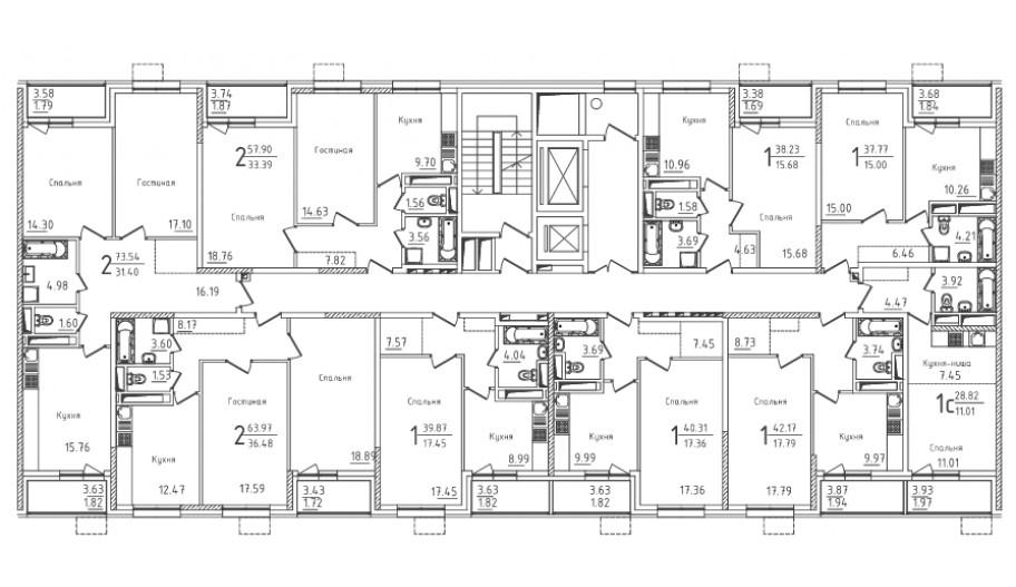 Типовой 3-19 этаж секция 2 в новостройке ЮВАО Москвы ЖК «Михайлова 31»