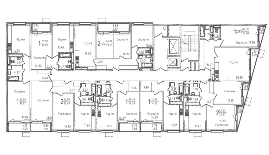 Типовой 2-12 этаж секция 3 в новостройке ЮВАО Москвы ЖК «Михайлова 31»