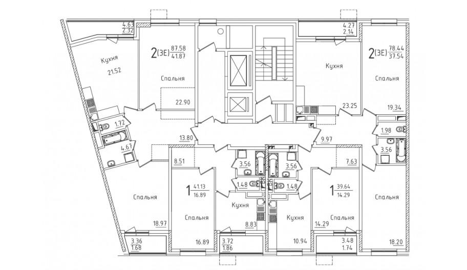 Типовой 2-12 этаж секция 4 в новостройке ЮВАО Москвы ЖК «Михайлова 31»