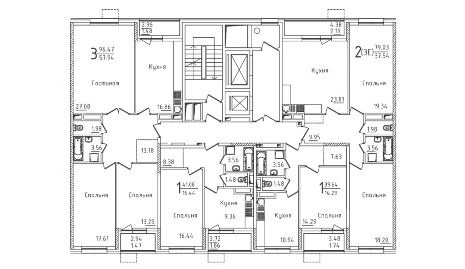 Типовой 2-12 этаж секция 5 в новостройке ЮВАО Москвы ЖК «Михайлова 31»