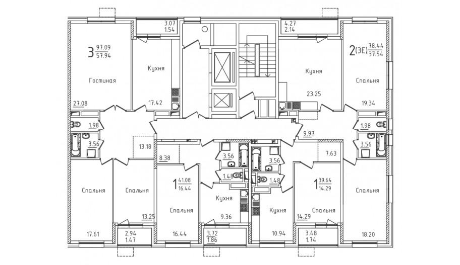 Типовой 2-12 этаж секция 6 в новостройке ЮВАО Москвы ЖК «Михайлова 31»
