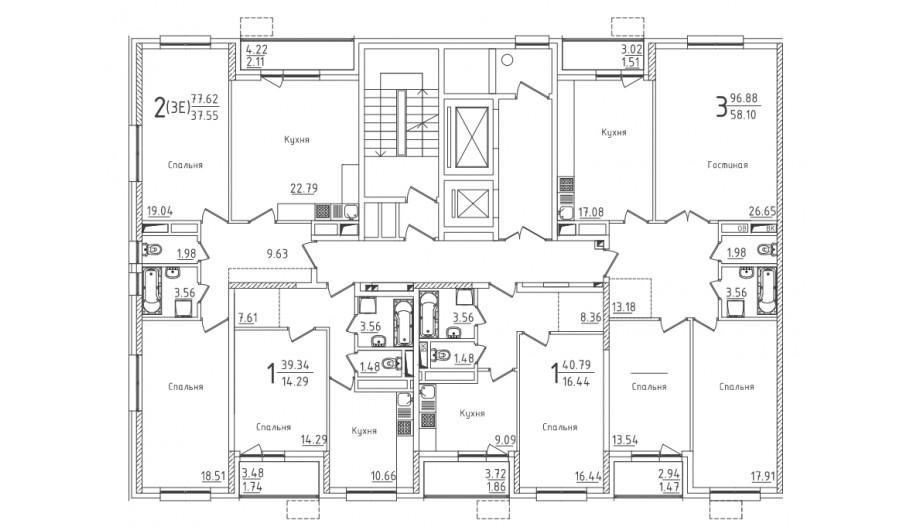 Типовой 2-19 этаж секция 7 в новостройке ЮВАО Москвы ЖК «Михайлова 31»