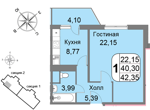 Однокомнатная квартира в Москве. Новостройка ЖК «Мичурино-Запад» в ЗАО