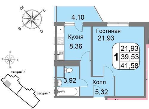 Однокомнатная квартира в новостройке на западе Москвы ЖК «Мичурино-Запад»