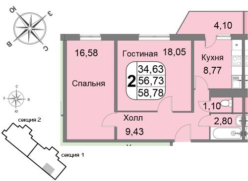 Двухкомнатная квартира в ЗАО Москвы. Новостройка ЖК «Мичурино-Запад»