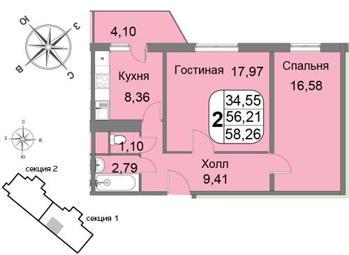 Двухкомнатная квартира в новостройке на западе Москвы ЖК «Мичурино-Запад»