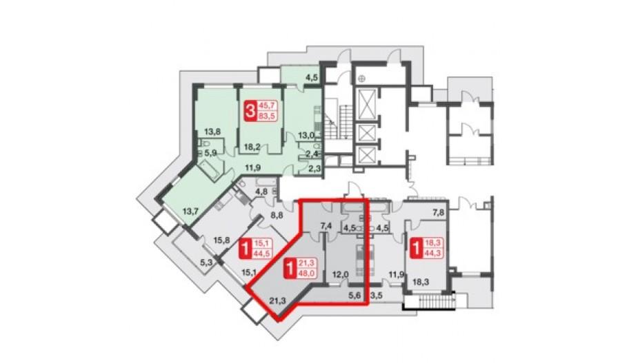 Однокомнатная квартира в новостройке за МКАД квартал «Сколковский» Одинцово, Москва