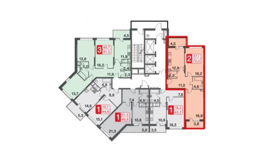 Двухкомнатная квартира в новостройке за МКАД квартал «Сколковский» Одинцово, Москва