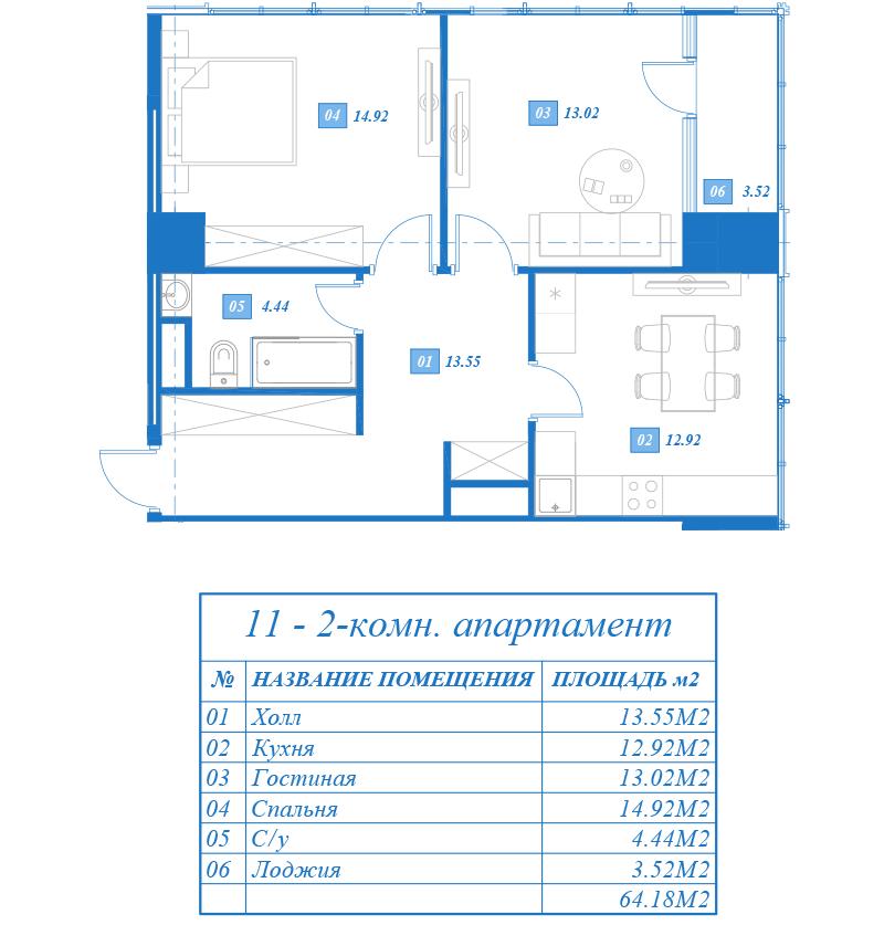 Двухкомнатные апартаменты бизнес-класса в новостройке Жилой Комплекс «Савеловский Сити» на Дмитровском шоссе в Москве.