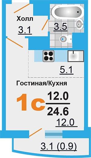 Однокомнатная квартира в Лобне, Москва. Новостройка микрорайон «Лобня Сити»