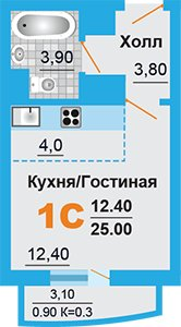 Однокомнатная квартира в новостройке микрорайон «Город Счастья» в подмосковном Домодедово