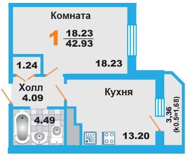 Однокомнатная квартира в Москве, новостройка ЖК «Менделеев»