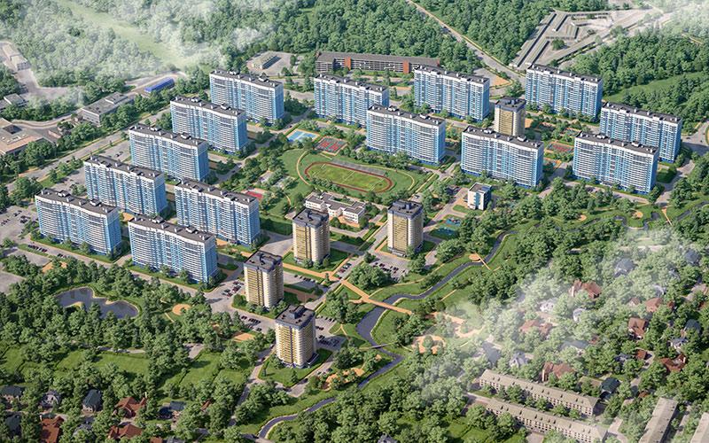 Новостройка Подмосковья в Лобне микрорайон «Лобня Сити». Вид на микрорайон сверху.