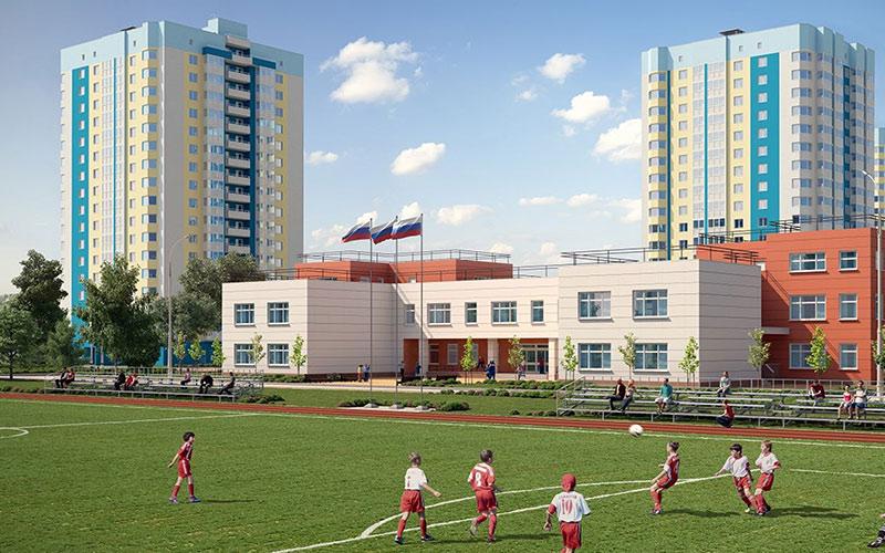 Новостройка в Лобне микрорайон «Лобня Сити», Подмосковье. Школа, стадион.